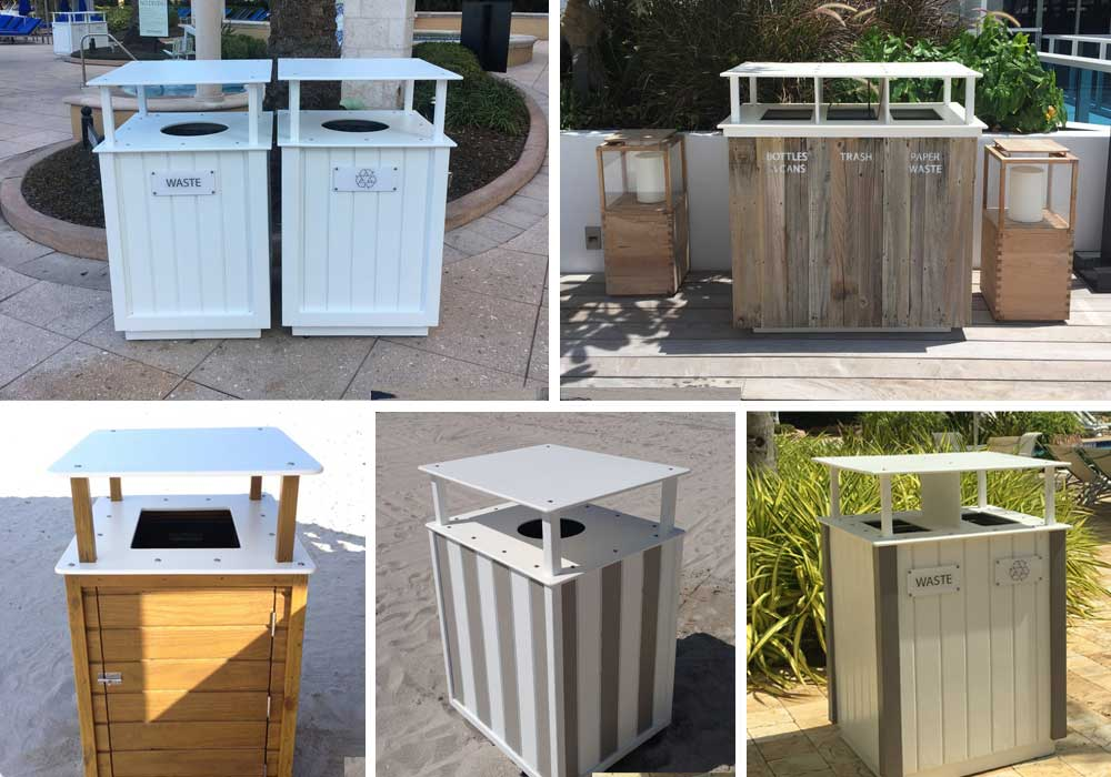 Waste Bins - Our high quality custom bins are designed and built to order. We use only stainless steel hardware, marine grade starboard® tops and a wide range of the most durable materials and finishes available.