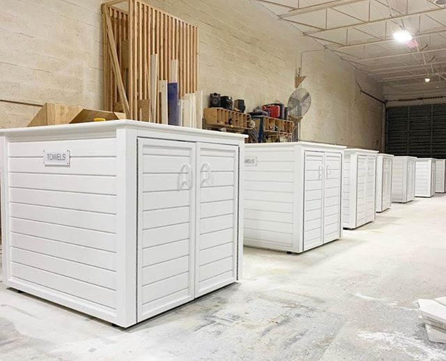 Towel cart enclosures ready for packaging & crating before shipping out to Bay Club's locations in California.  We're very exited to be providing #bayclubs for all new pool and towel service solutions for all the Bay Club locations!