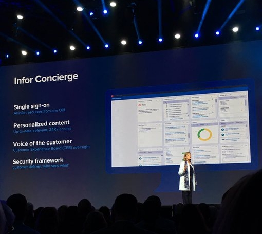 Infor Concierge making its debut on the main stage at Inforum 2017. Presented by Chief Customer Officer, Mary Trick,