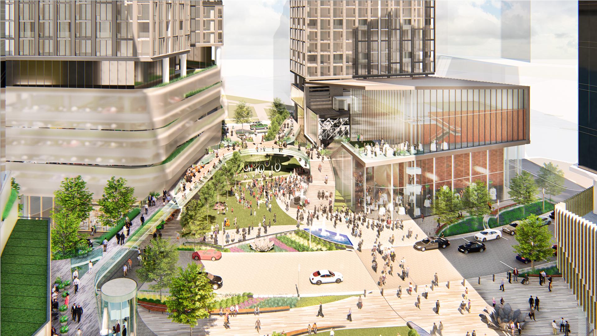 Civic Plaza toward Common Green
