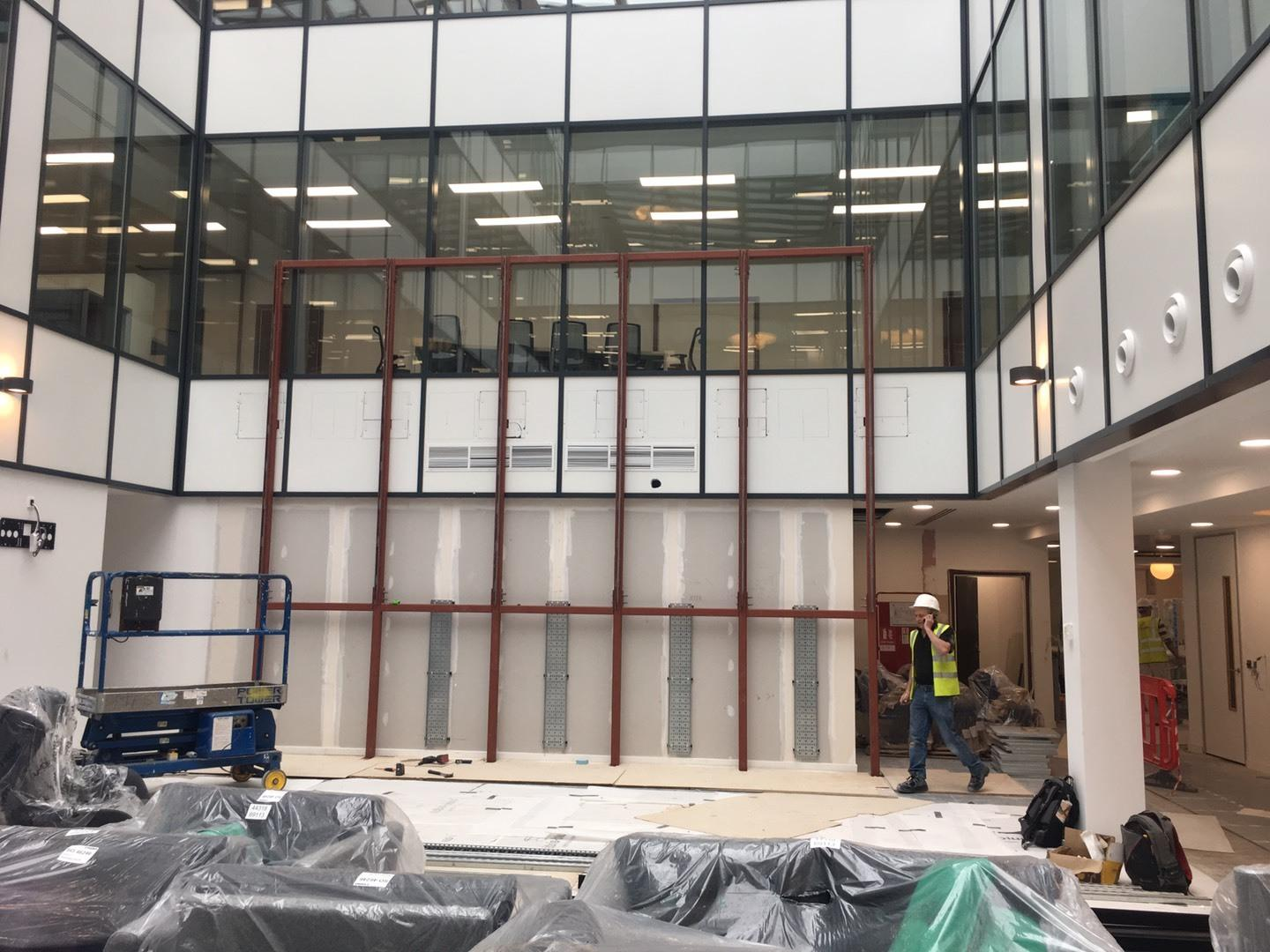 Work begins on the 25 screen video wall