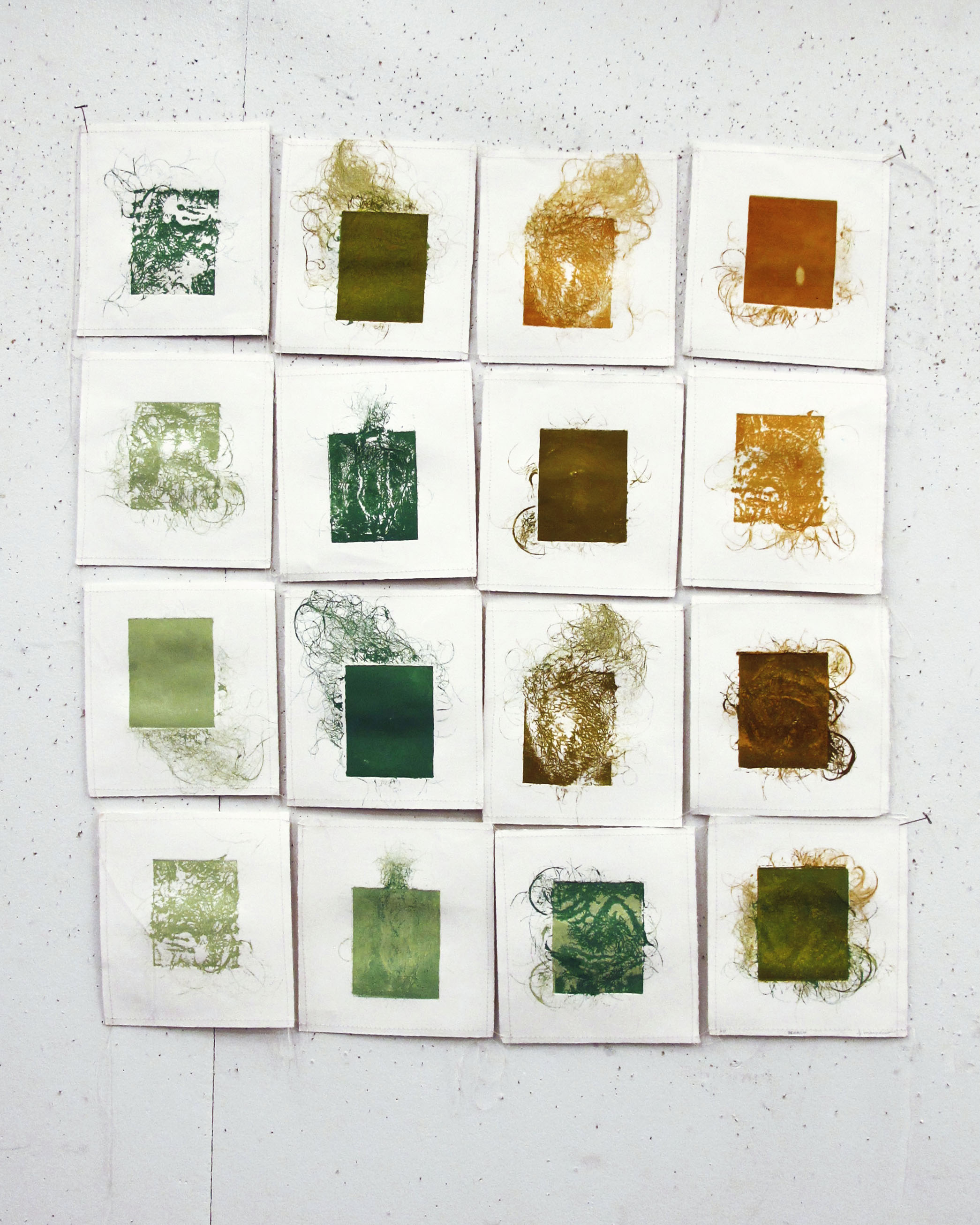 Part of an installation, experimental collagraphs with hand embroidery