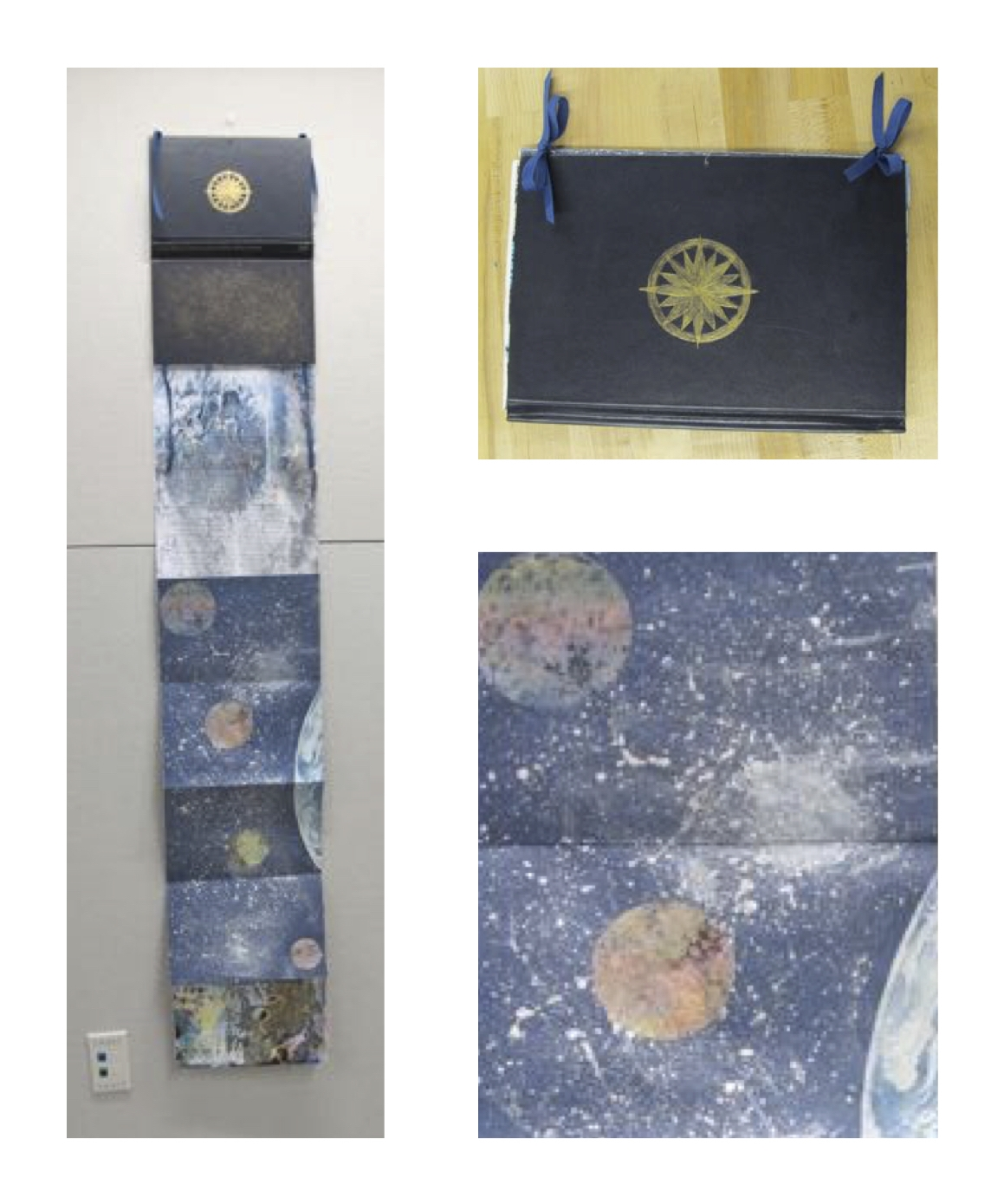 Repurposed book with marbled paper, cyanotype, chine colle