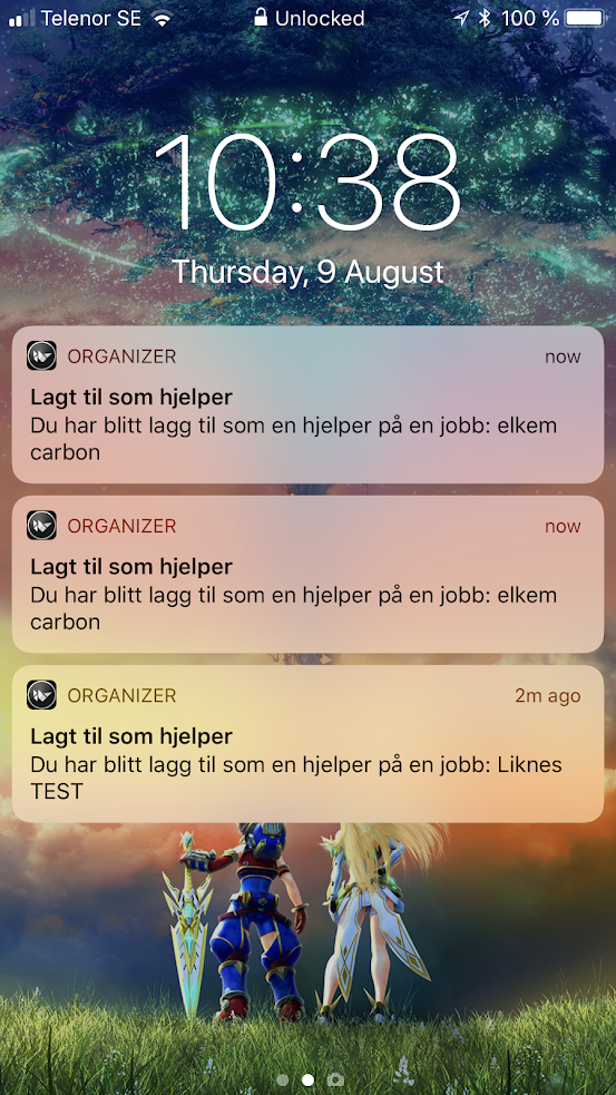 Live example of the OneSignal notifications coming in