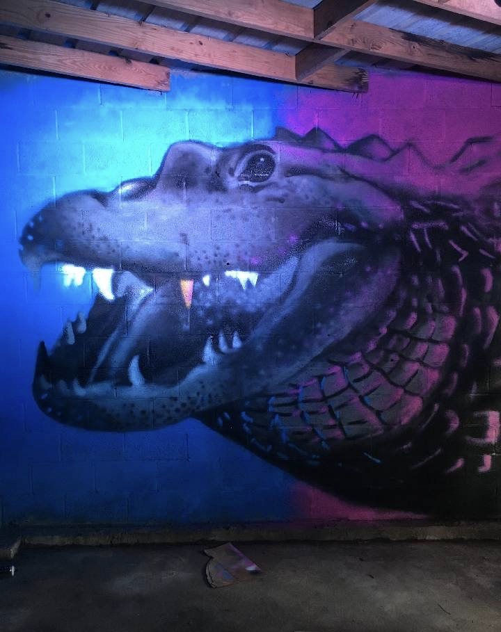Mural by @scottliamwalker at The Elephant Collective, 3610 Toulouse