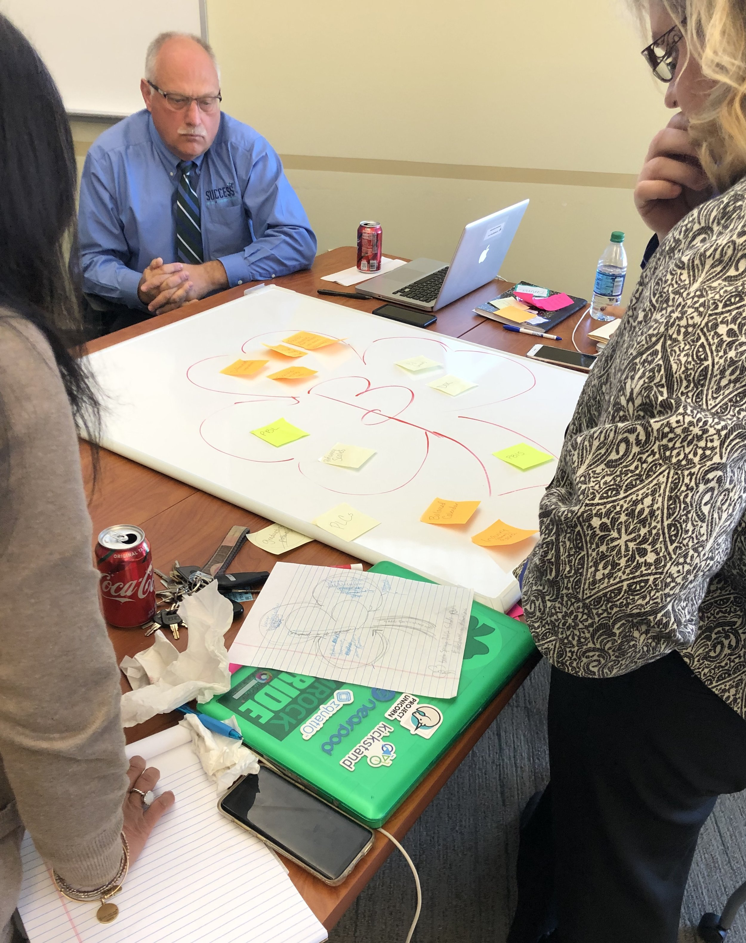 BSPS Superintendent Dave Eichberg, Virtual Academy Director Rachel Stout, Communications Director Gail Fox, and Science/Social Studies Instructional Coach Emma Haygood (not pictured) collaborate on their group's instructional model draft.