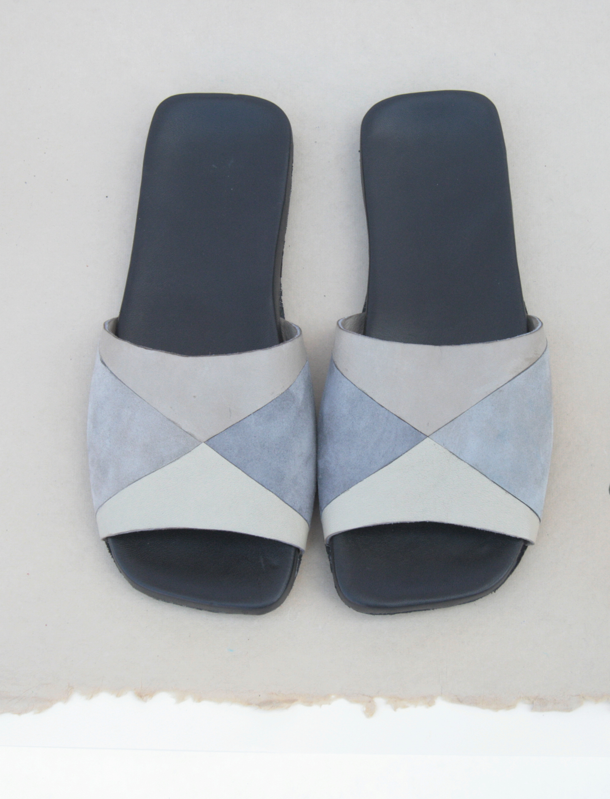 Patchwork Sandals - square comfortable slides - Custom made in NYC