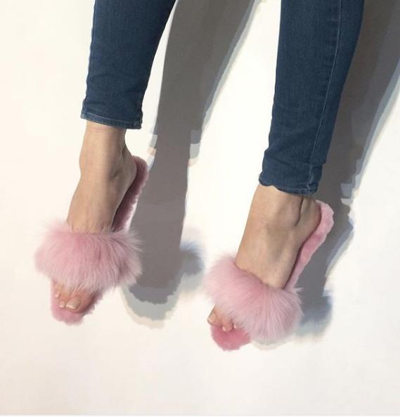 Fluffy Pink Shearling Slides - Handmade in Brooklyn, NY