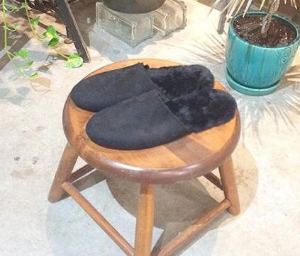Black Shearling Slipper - Mens - Handmade Custom Luxury Gift