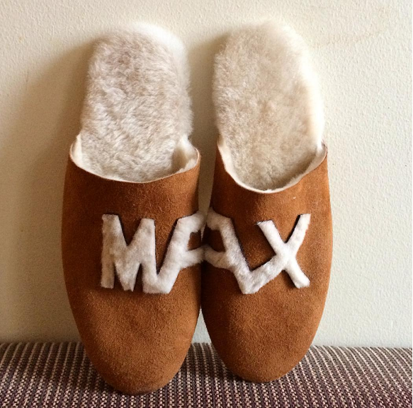 Classic Brown Shearling Slippers with Initials, Handmade Custom Order