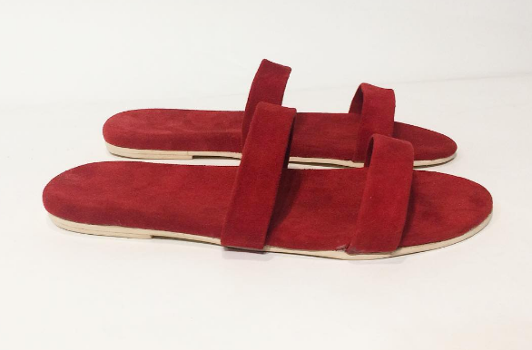 Custom Red Suede Strappy Sandals Handmade in Brooklyn, NY