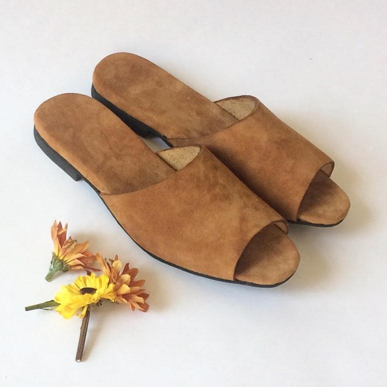 Sandy Camel Suede - custom slide sandals comfort shoes - Made in New York
