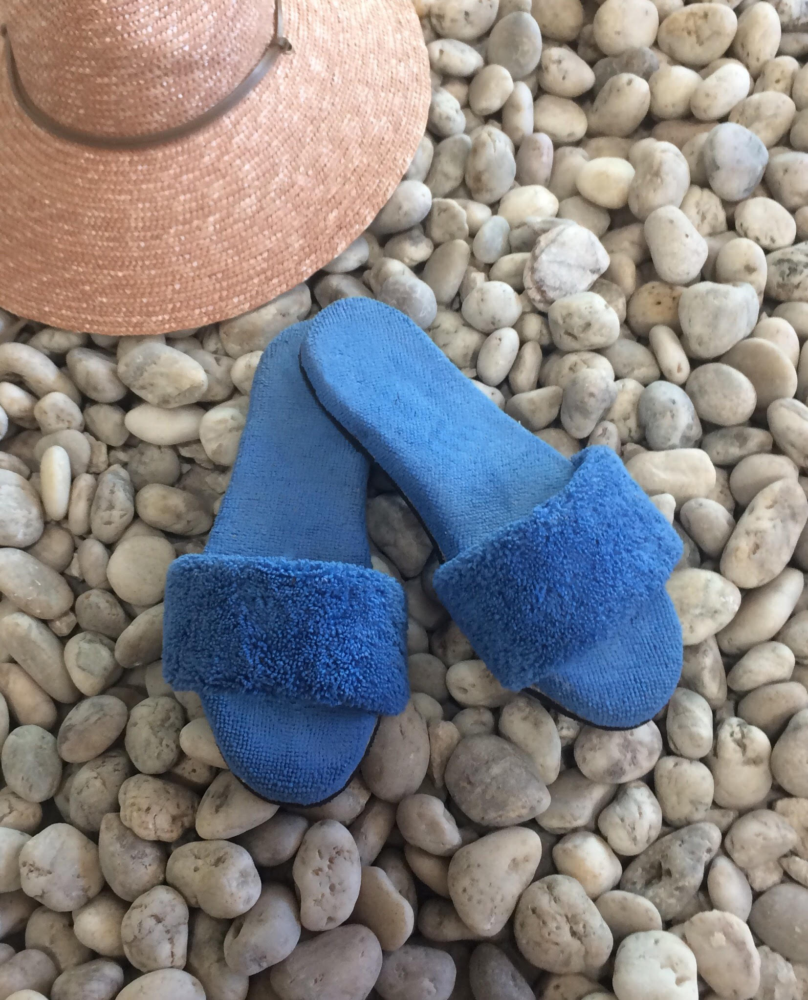 Blue Terry Pool Slide with comfort footbed