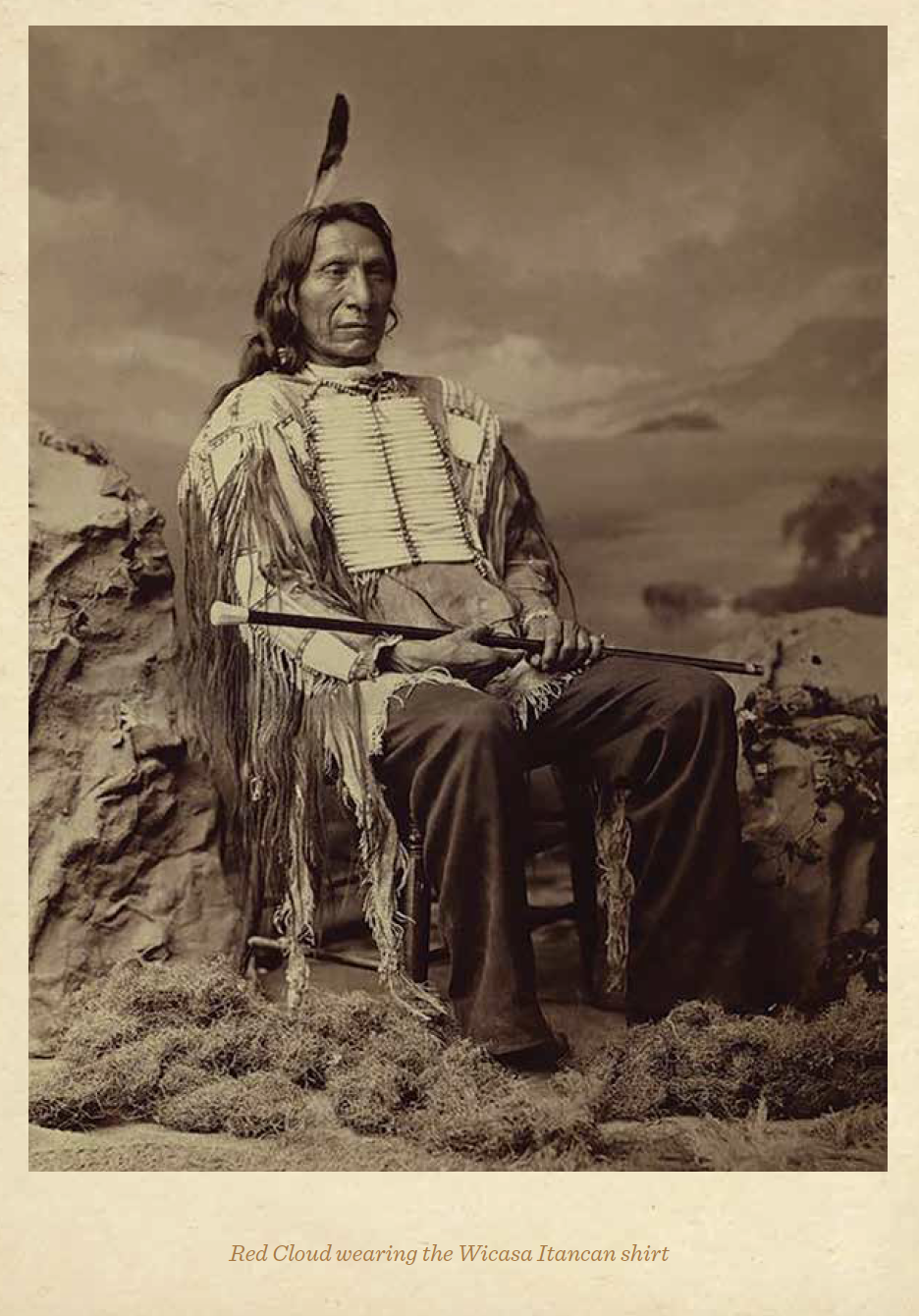 Red Cloud in the shirt wearing a breastplate