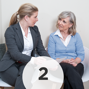 Step 2: - We will go over personal information with you and one of our hearing professionals will ask you questions about the situations and environments in which you are having hearing issues.