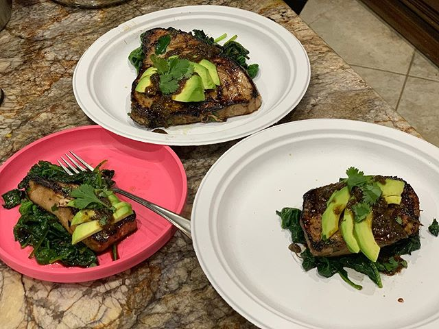 Asian Cilantro Lime Tuna Steaks and sautéed spinach served on the finest of paper plates tonight.  Mama gettin' back in the kitchen...