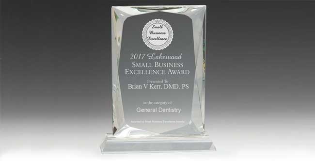 Brian V Kerr, DMD, PS selected for 2017 Lakewood Small Business Excellence Award