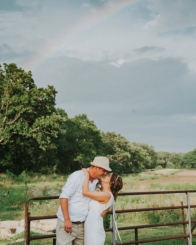 A magical time at this wedding this weekend.  #midwestphotographer #midwest #rainbow #bride #groom #wedding #photography #rustic #love #couple #kiss #dancing #country #rural #sky #thehancocksimagery