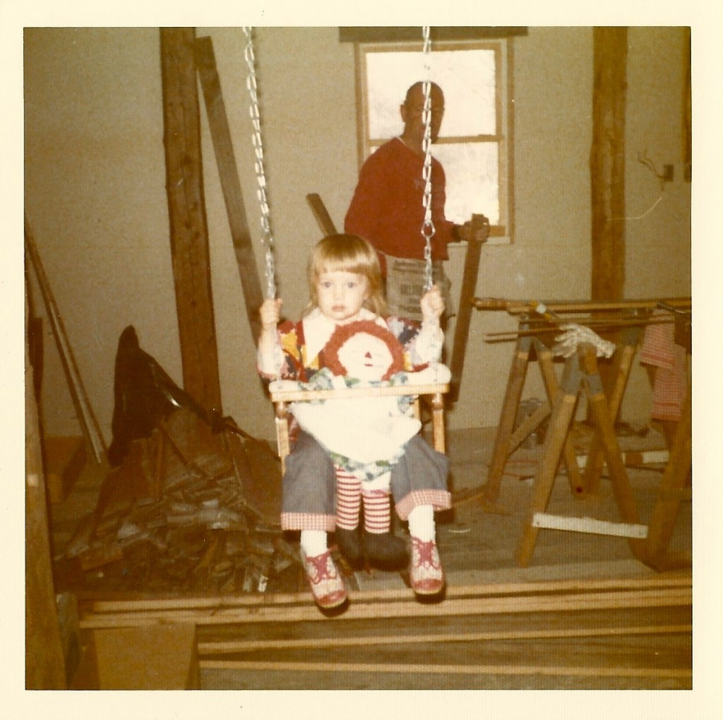 1974 Colleen Bender & Raggedy Ann in swing