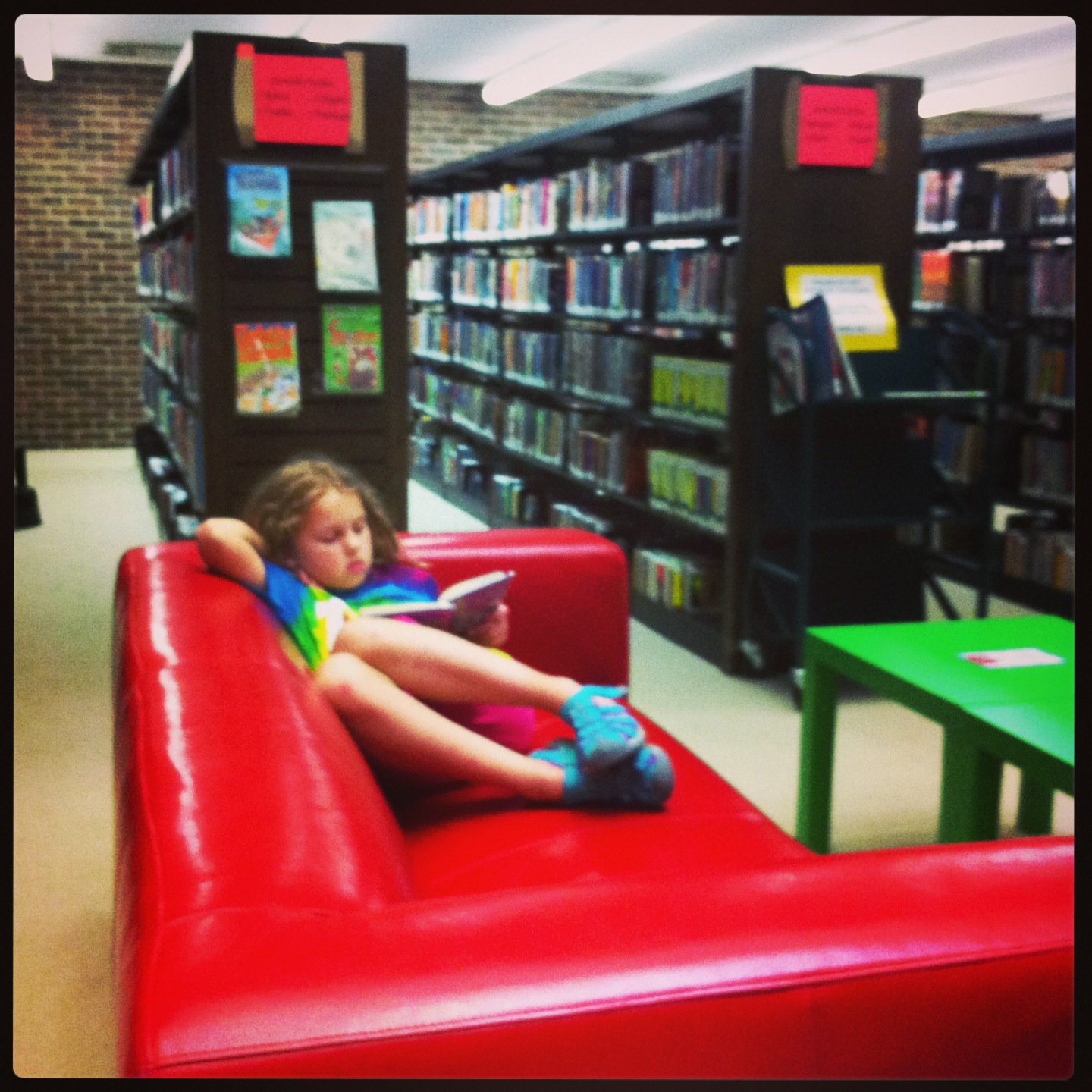 Zoe in the library