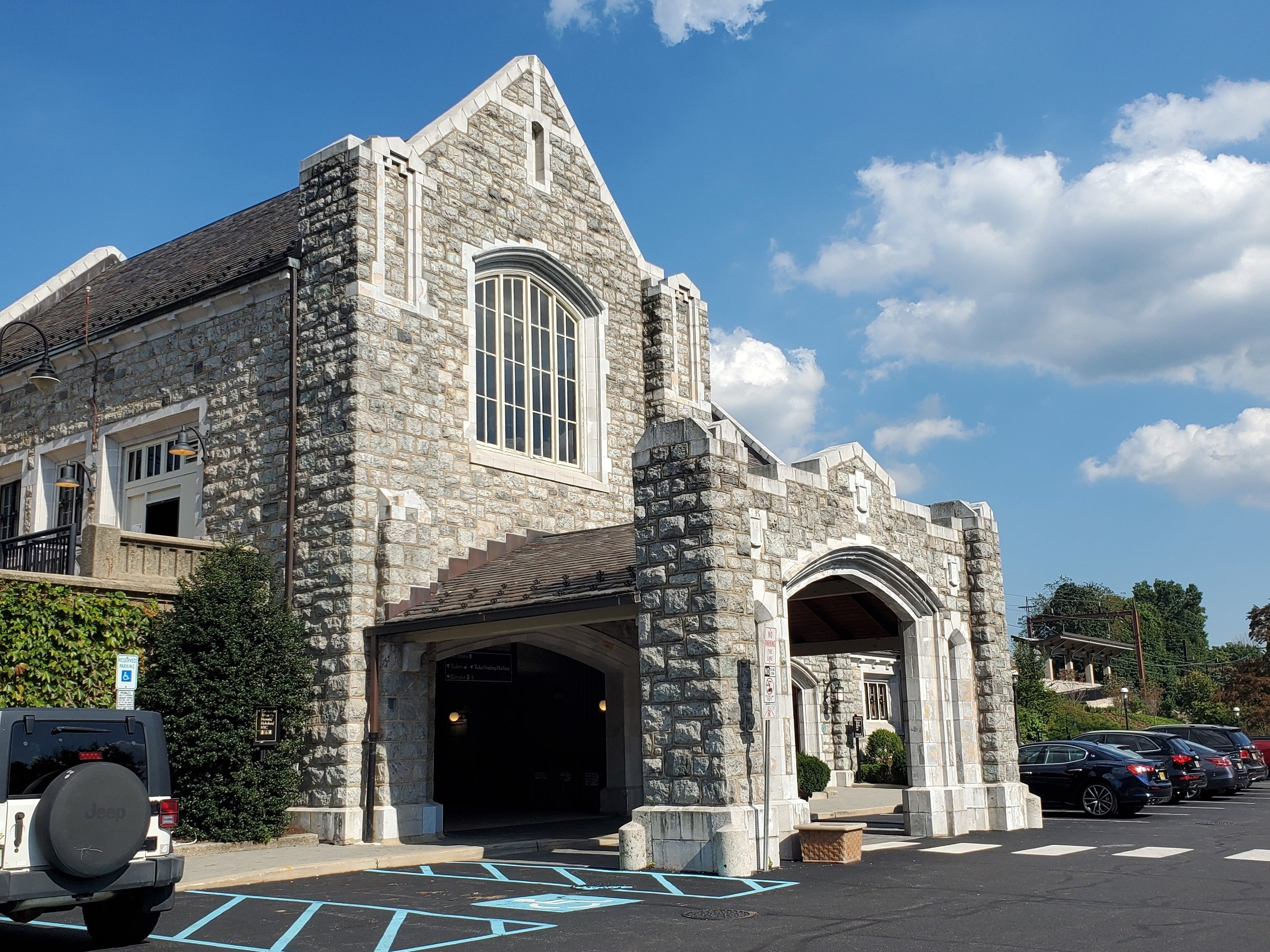 Here's a very grand example of a porte cochere. Because Mrs. Dodge couldn't fathom exiting a car in the rain!
