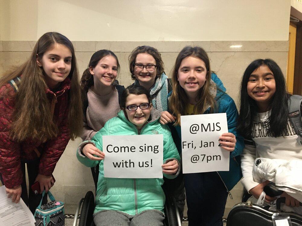 Some of our song leaders (from left) Elizabeth McManus, Ella Conroy, Cassie Jennings, Michael McKeever, Becca Axler and Saanvi Sureka.
