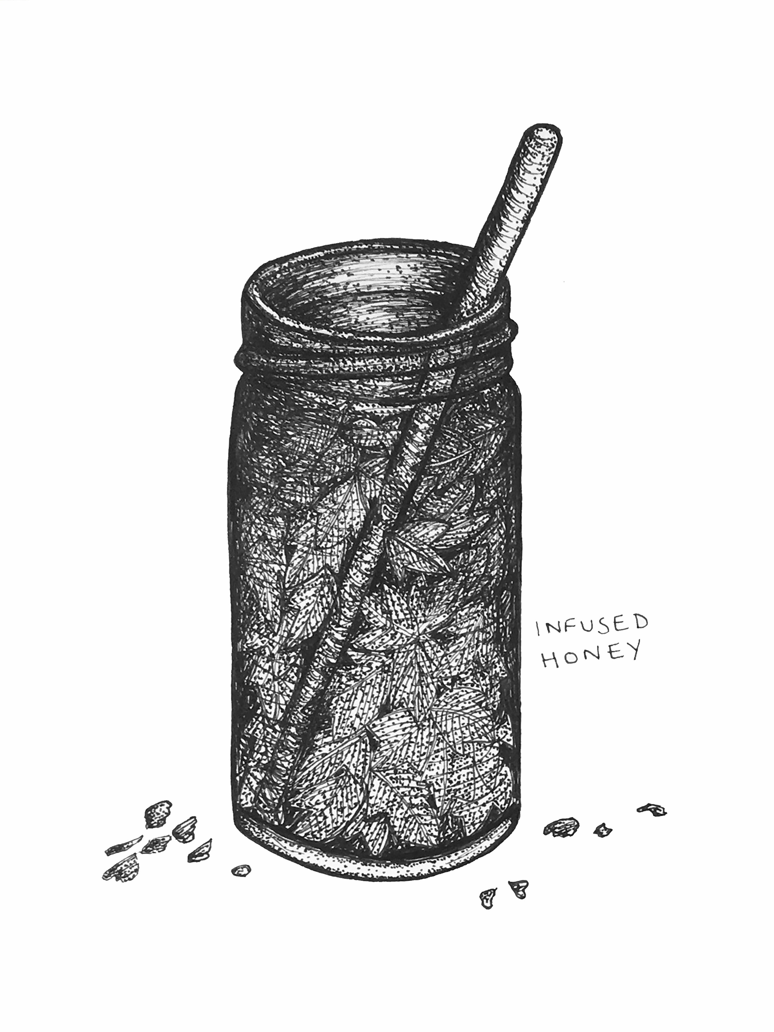 An illustration of herb infused honey, which I made for a project I am working on with Lynn.