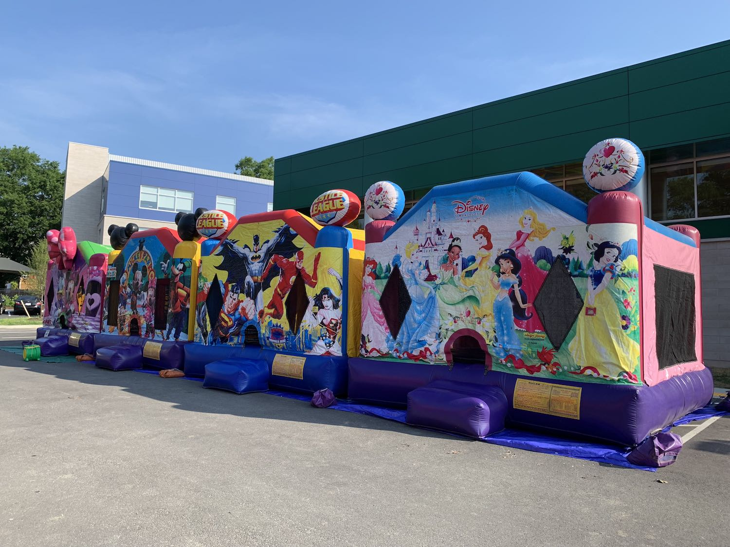 Minnie Mouse, Mickey Mouse, Justice League, Disney Princess bounce house