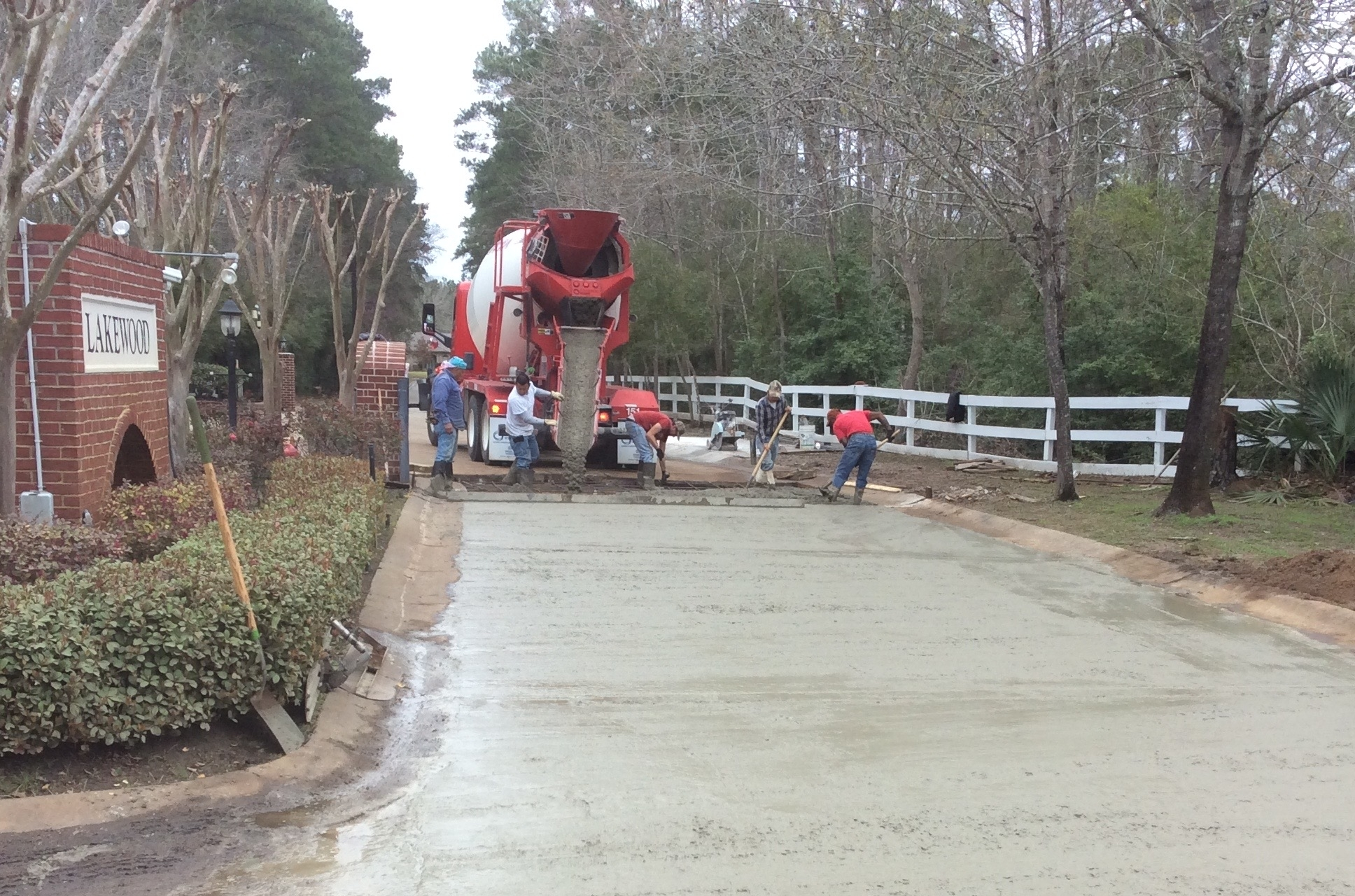 Roads - (Image: Concrete being poured at Lakewood in Conroe, TX)