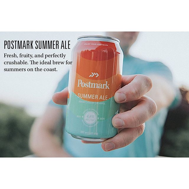 Postmark Summer Ale | Bright, Clean, Playful . Fresh, fruity, and perfectly crushable. The ideal brew for summers on the coast. Enjoy! 4.8% ABV 10 IBU . #EnjoyYourPostmark #postmarkbrewing #craftbeer #craftbeerbc #summerale #beer #craftbeer #summercan