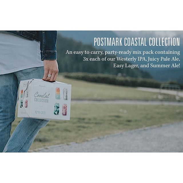 Postmark Coastal Collection | All packed up and ready to go! . An easy to carry, party-ready mix pack containing 3x each of our Westerly IPA, Juicy Pale Ale, Easy Lager, and Summer Ale! Enjoy! . #EnjoyYourPostmark #postmarkbrewing #craftbeer #craftbeerbc #coastalcollection #summerale #beer #craftbeer #summercan #silvercan #greencan #juicycan