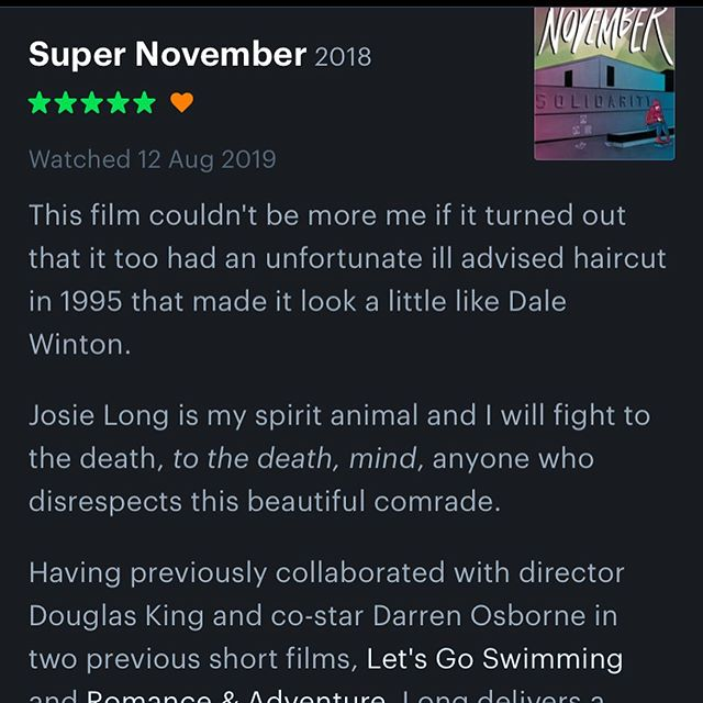 What a lovely review on @letterboxd  Did we mention #supernovember is available exclusively on @vimeo on demand? 🤯🍿