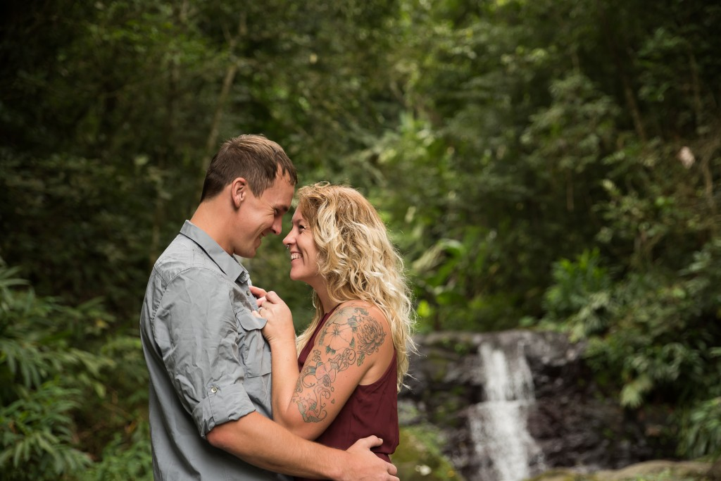 Outdoor Waterfall Engagement Session