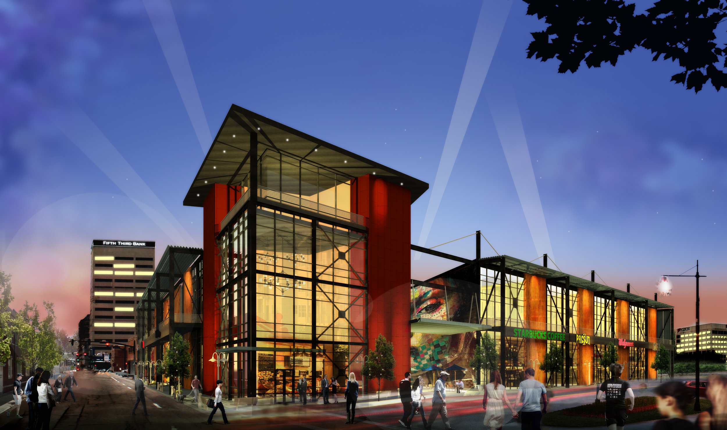 Downtown plaza - An interesting concept design for multi-purpose commercial use in downtown Evansville.