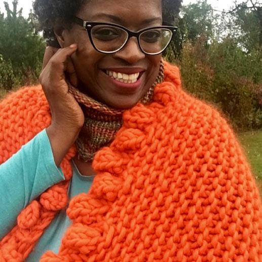 GGMADEITBYHANDBOBBLE SHRUG PATTERN - Bulky, cozy, super cute. Even if we don't make it in ORANGE ( this designer's signature color ) we love this shrug.OK, we'll make it in orange, GG!$6.00