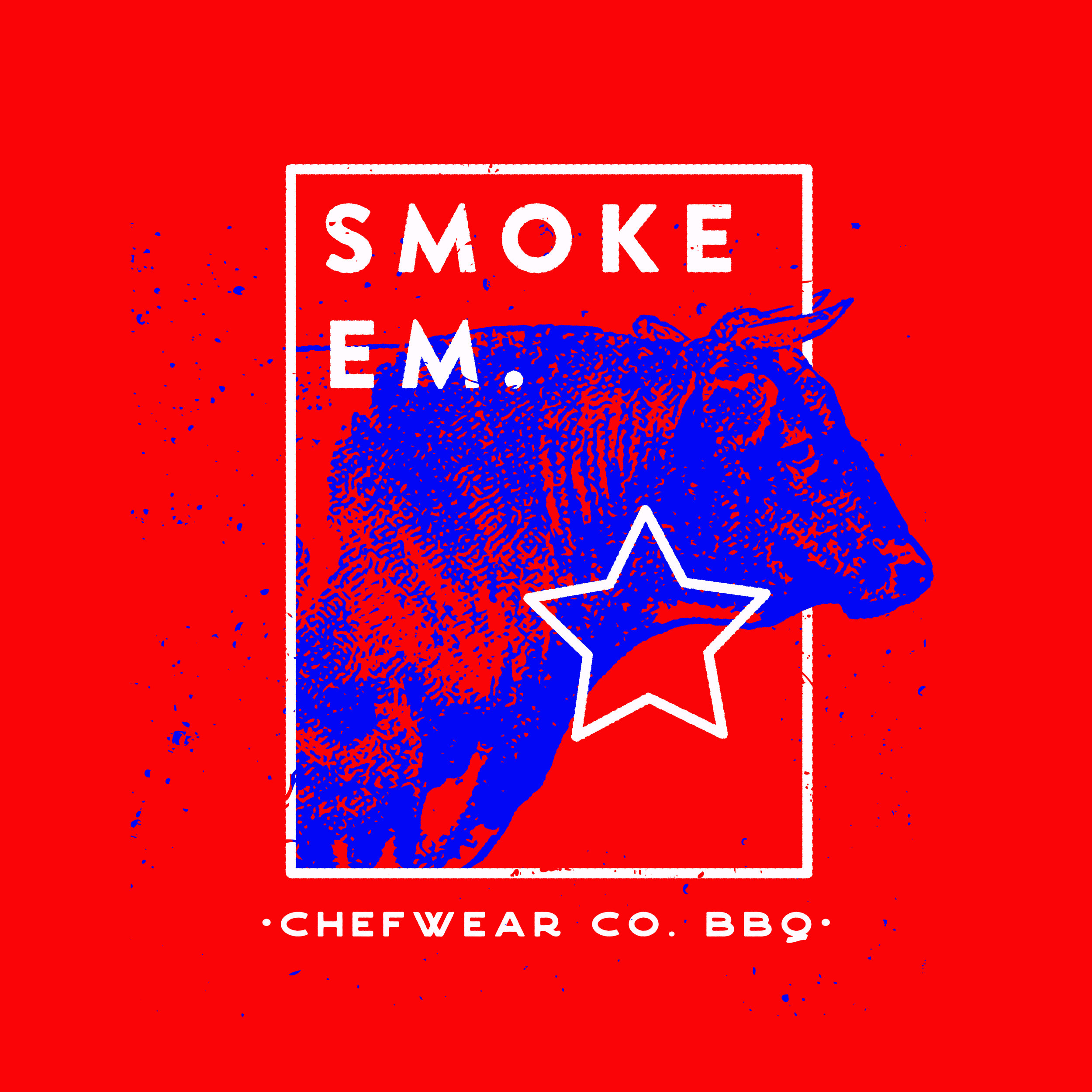 SMOKE EM. - CHEFWEAR expressed that for this collection they would like something edgy  but not distasteful so I decided that the BBQ culture could provide a fun opportunity to create some play on words.