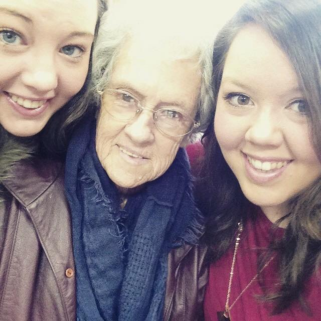 My sister, Granny, and me on a family outing a few years ago.
