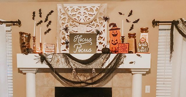 Going through DMs and realizing I had a ton of Halloween mantle questions... I'm a terrible instagrammer 😆. But pretty much everything on this is from @dollargeneral and @dollartree. Mix lots of textures and heights. The hocus pocus sign is from @target dollar spot. Use sticky Tac to stick things on 🎃  #fall #halloween #decor #home #homedecor #holidays #styled #417land #dollartreefinds #dollartree #dollargeneraldeals #dollargeneral #targetdollarspot #target #love #fun #insta #celebrate #mantle #halloweenmantle #thrifty #blogger #lifestyleblogger