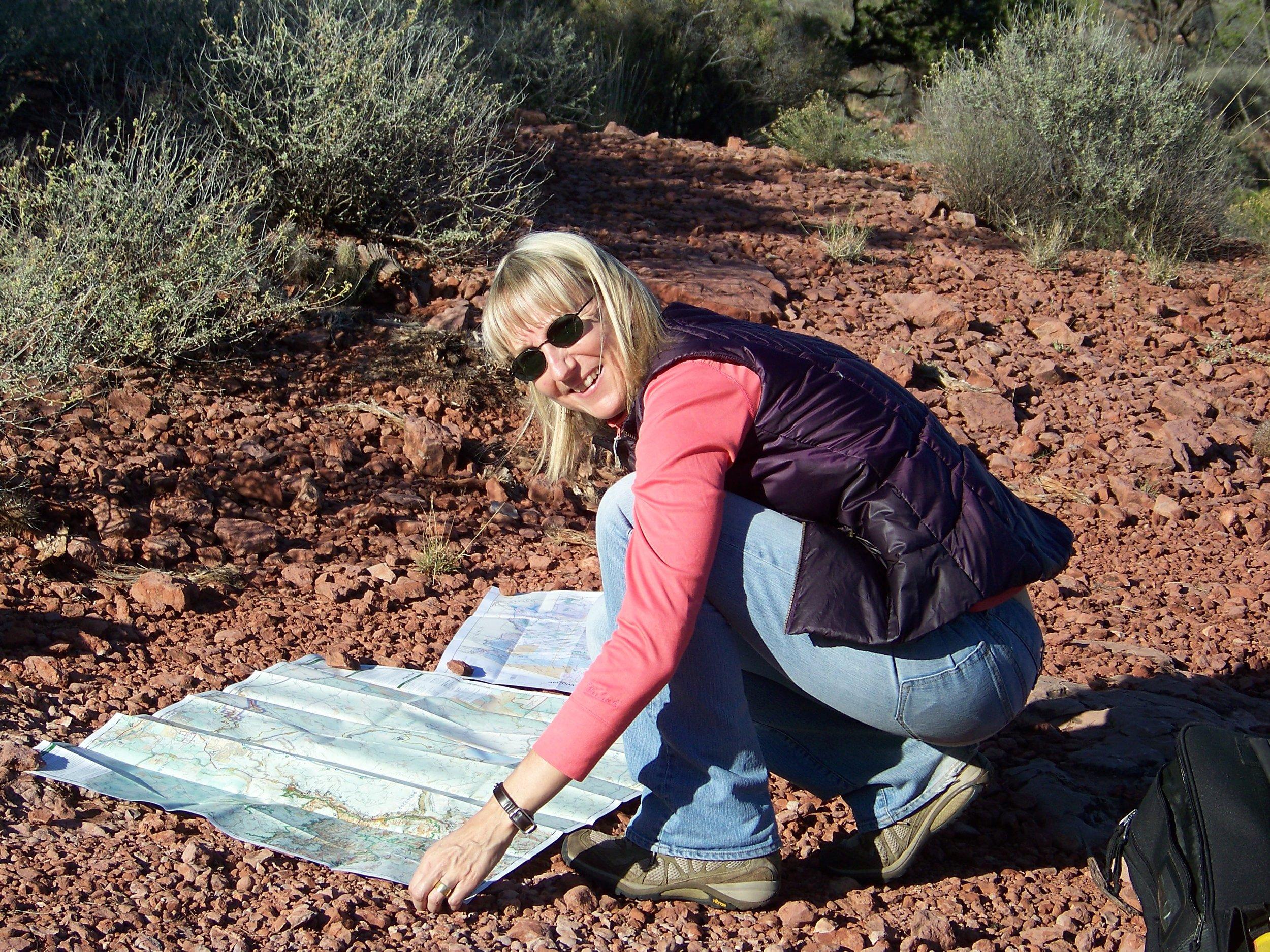 Carrie Ann setting up for a teaching Sedona 2016