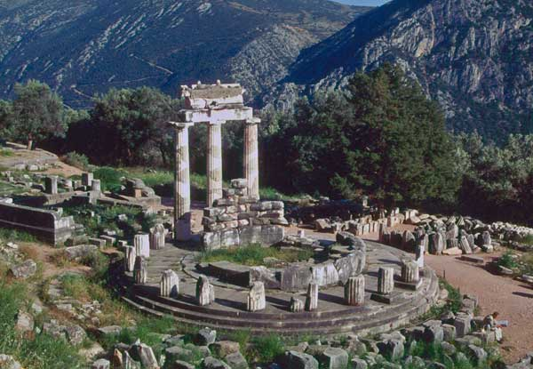 A temple at Delphi where petitioners would ask questions to the Oracle