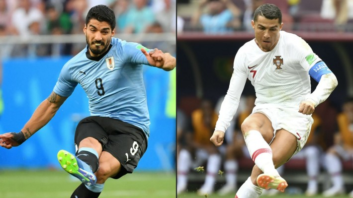 Uruguay forward Luis Suarez and Portugal Captain Cristiano Ronaldo.