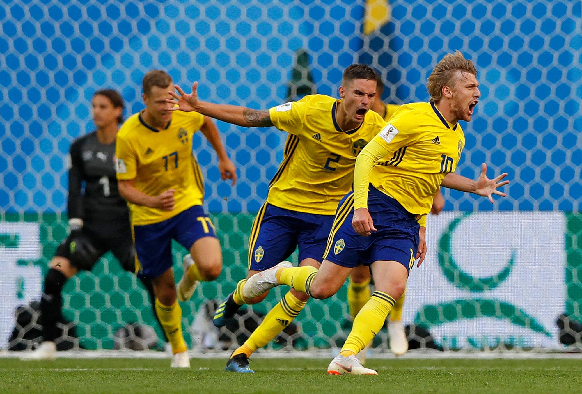 Emil Forsberg celebrates his 66th minute goal against Switzerland.