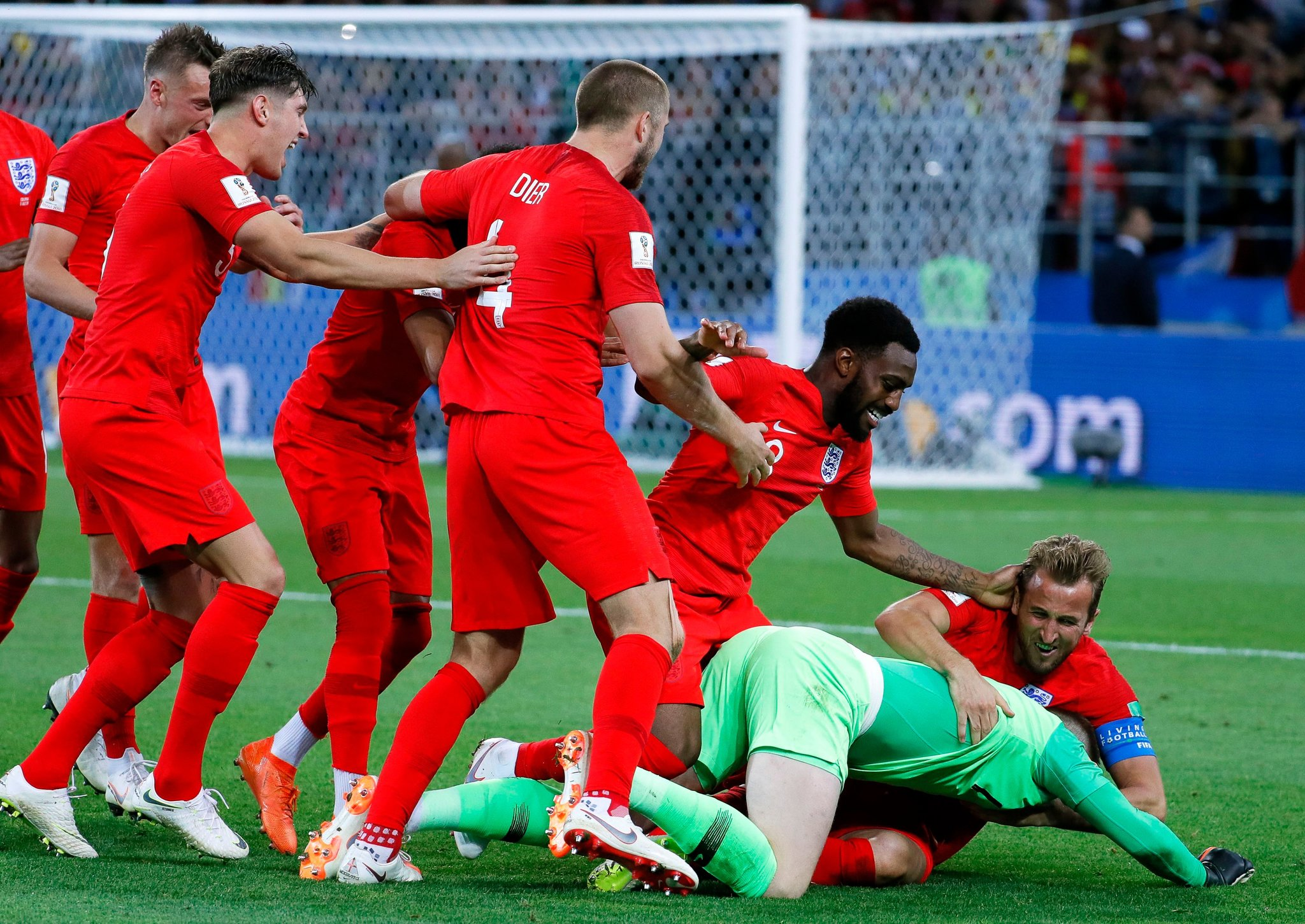 England celebrates after defeating Colombia in penalty kicks.