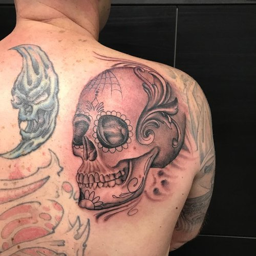 Black and Gray Realism Sugar Skull by Darious at Certified Tattoo Studios.jpg