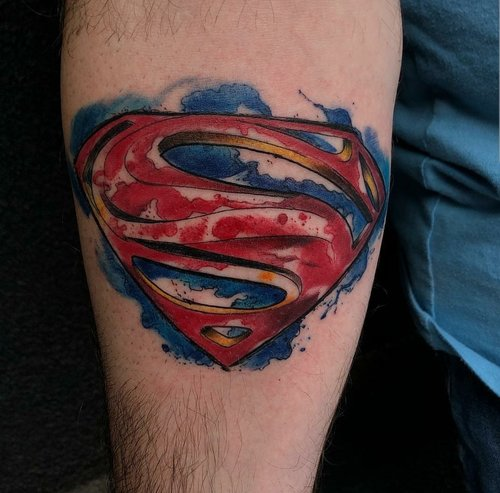 Water Color Superman Tattoo by Jeff at Certified Tattoo Studios.jpg