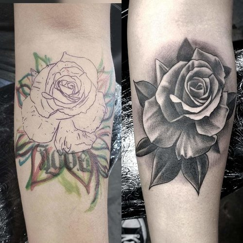 Black and Gray Rose Cover up Tattoo by Piper  at Certified Tattoo Studios Denver Co.jpg