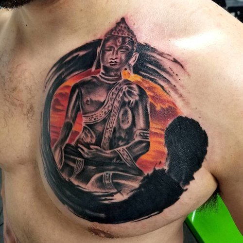 Black Gray and Color Buddha Tattoo by Piper  at Certified Tattoo Studios Denver Co.jpg