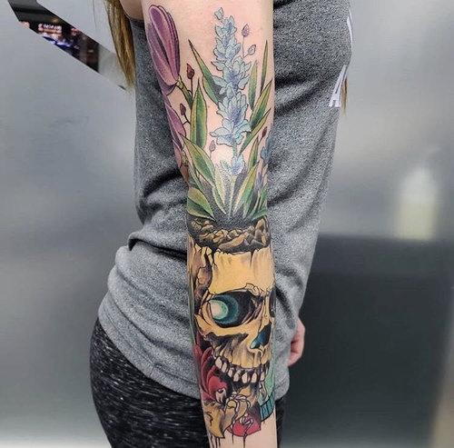 Color Skull Tattoo by Piper  at Certified Tattoo Studios Denver Co.jpg