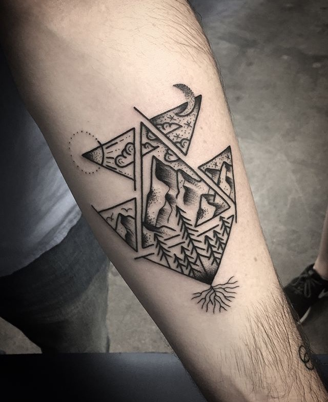 Black Geometric Mountain Tattoo by Spencer at Certified Tattoo Studios Denver, Colorado's Best Tattoo Studio.jpg