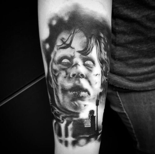 Black and Gray Exorsist Tattoo by Alix at Certified Tattoo Studios Denver Co.jpg